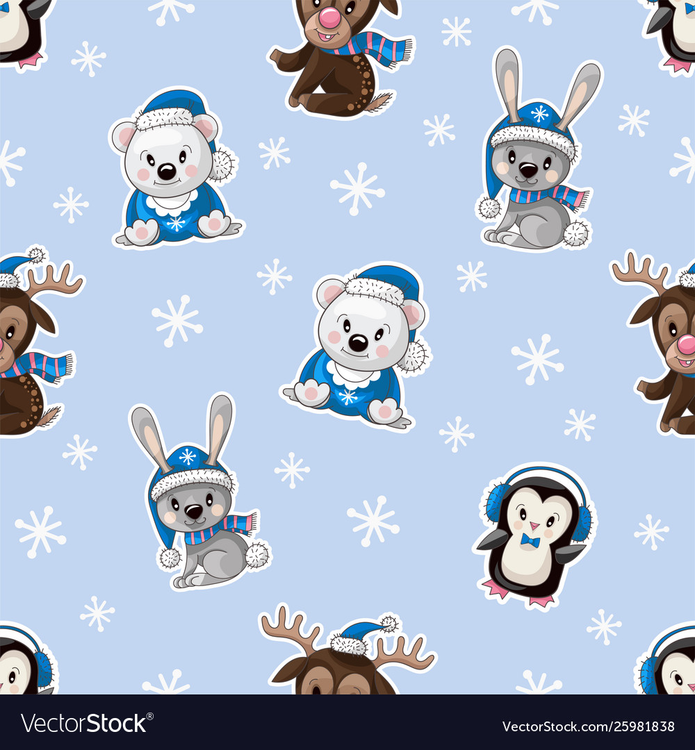 Seamless pattern with cute baanimals on