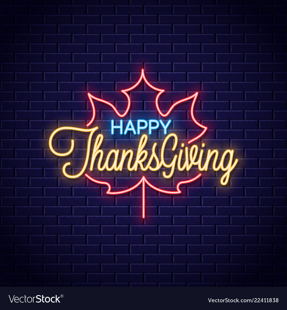 Thanksgiving neon sign happy thanksgiving retro