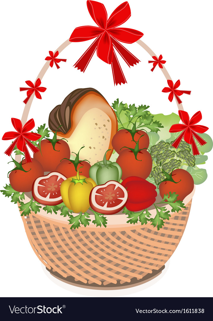 Vegetable and food in gift basket