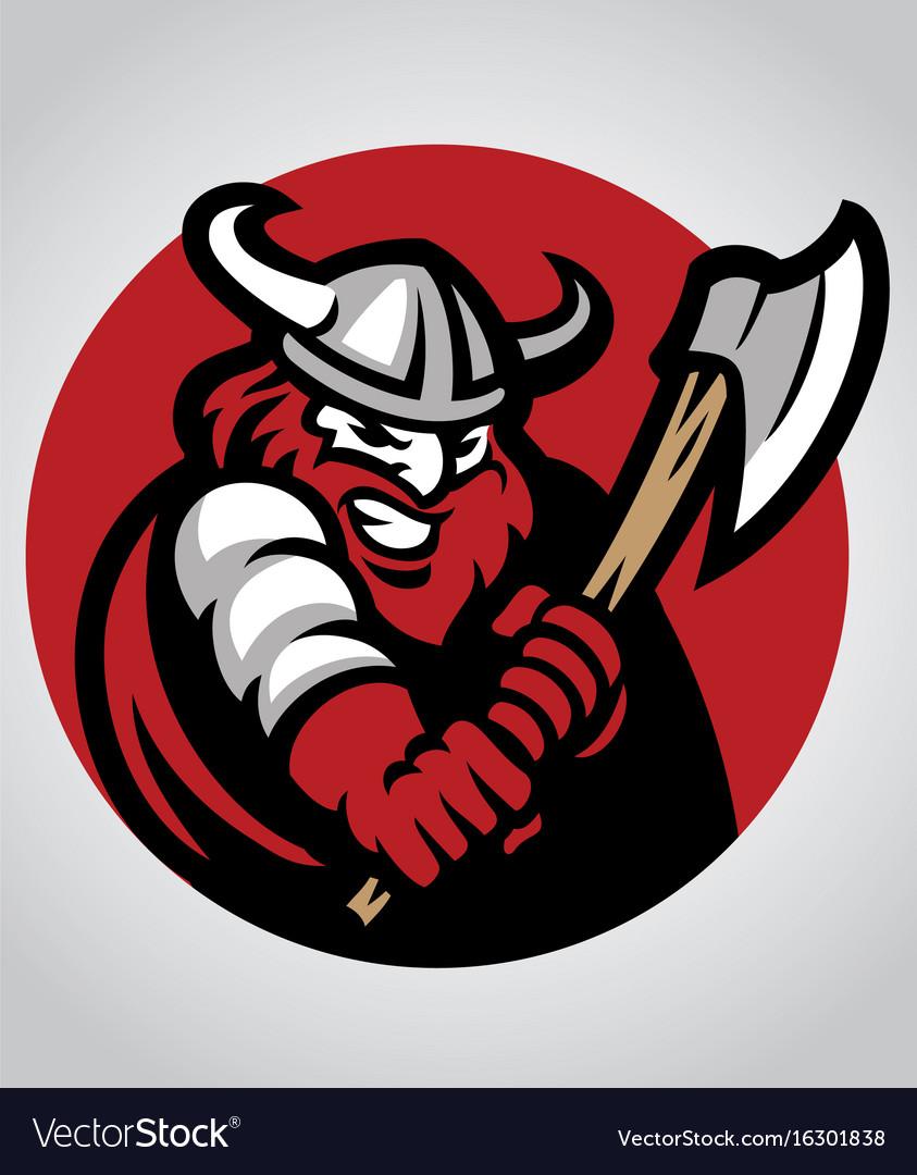 Viking mascot swinging the axe