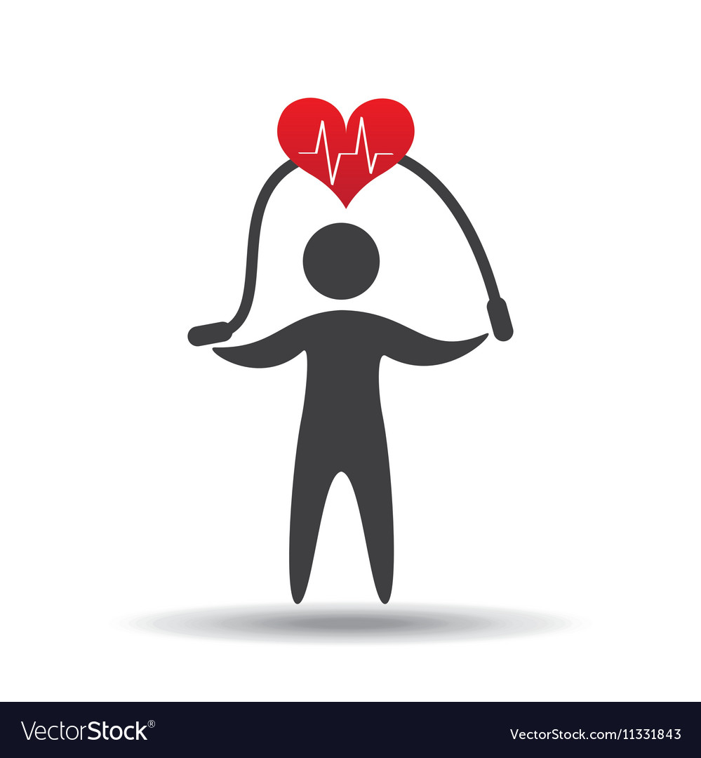 Athlete silhouette heart jump rope