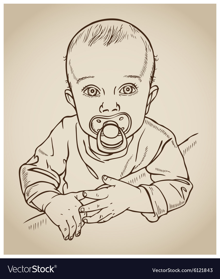 Baby with a pacifier drawing vector image