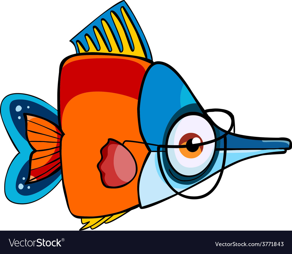 Cartoon colored fish with glasses