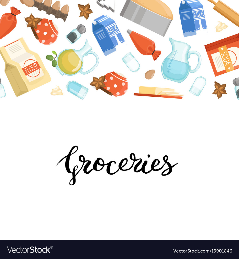 Cartoon cooking ingridients or groceries vector image