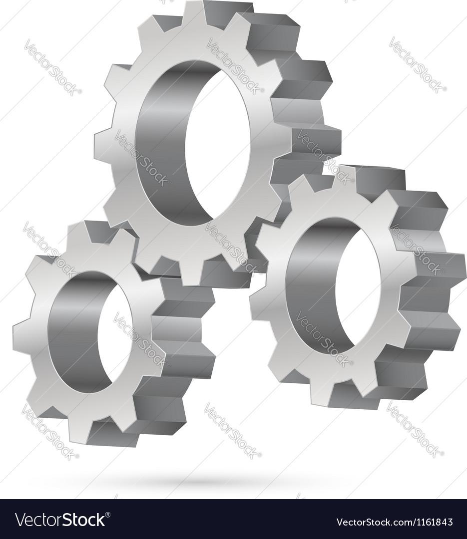 Chrome gearwheel vector image