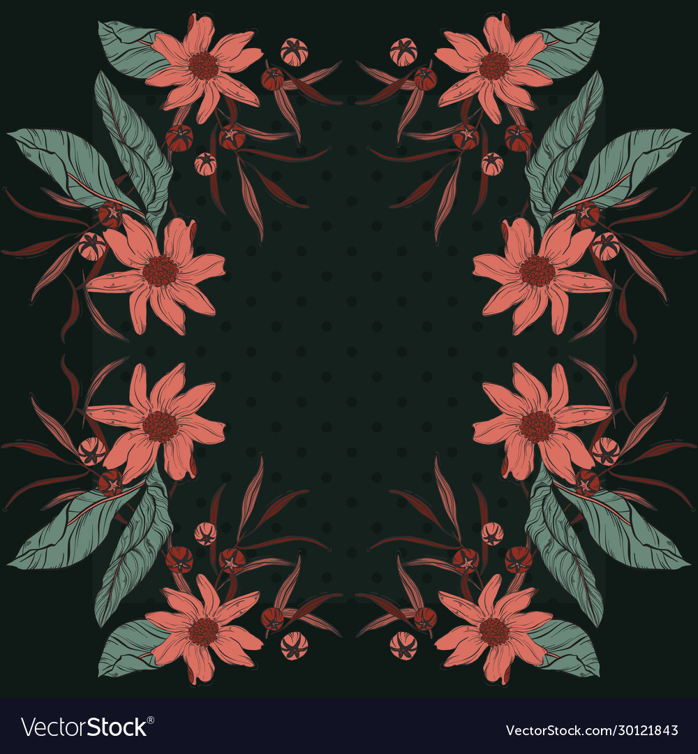 Floral bloom rectangle design scarf repetiotion
