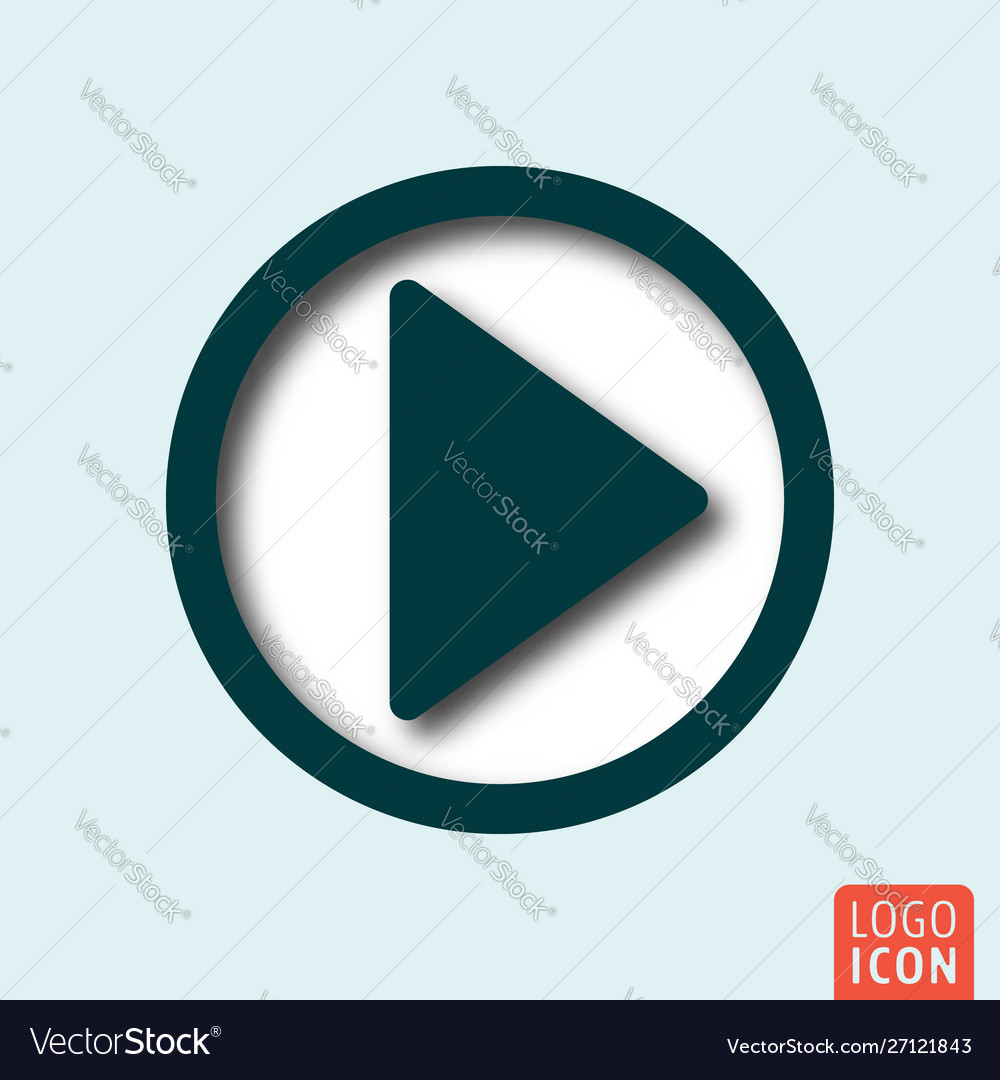Play button icon minimal shadow design