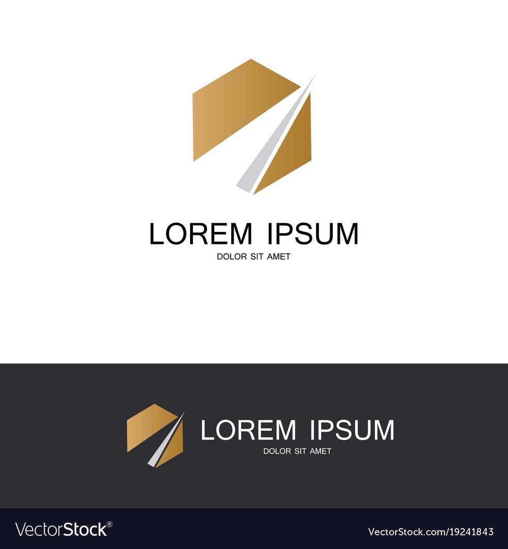 Polygon gold logo vector image