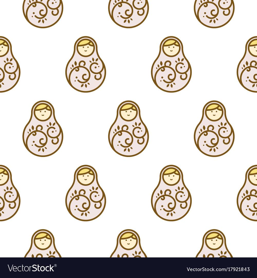 Russian doll matryoshka light seamless pattern