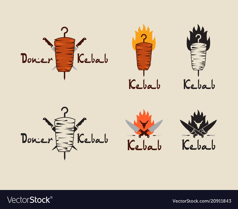 Set of doner kebab logo templates creative
