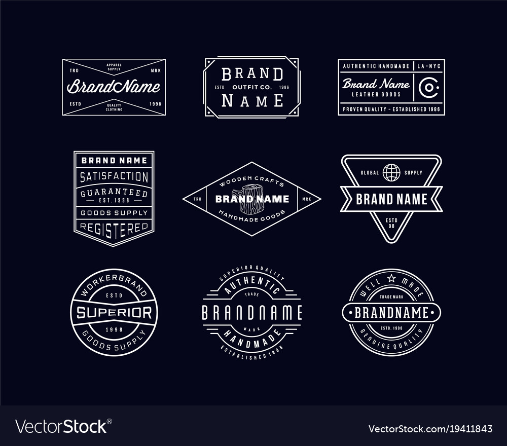 Vintage logo insignia badge set 3