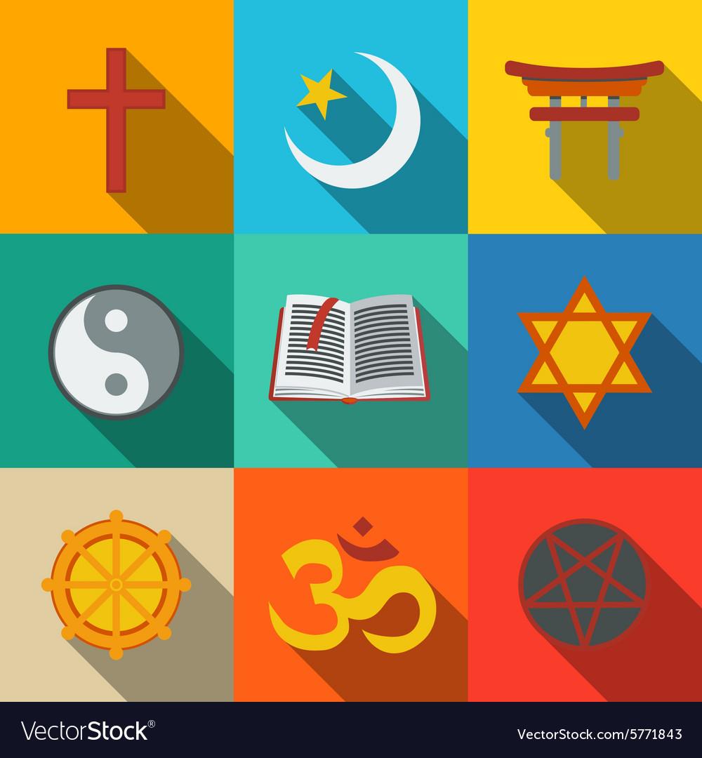 world religion symbols flat set christian vector image