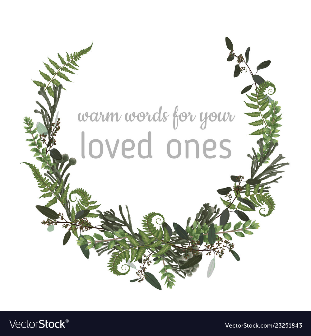 Wreath with herbs and leaves isolated on white