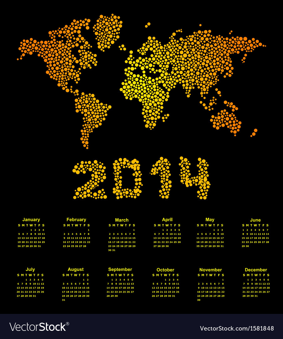 2014 calendar world map