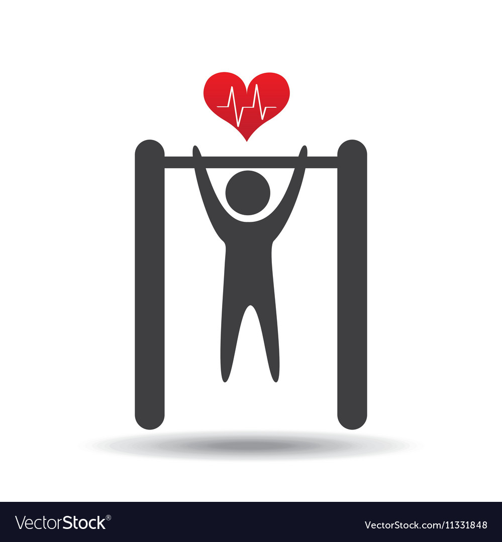 bar hanging athlete silhouette heart royalty free vector