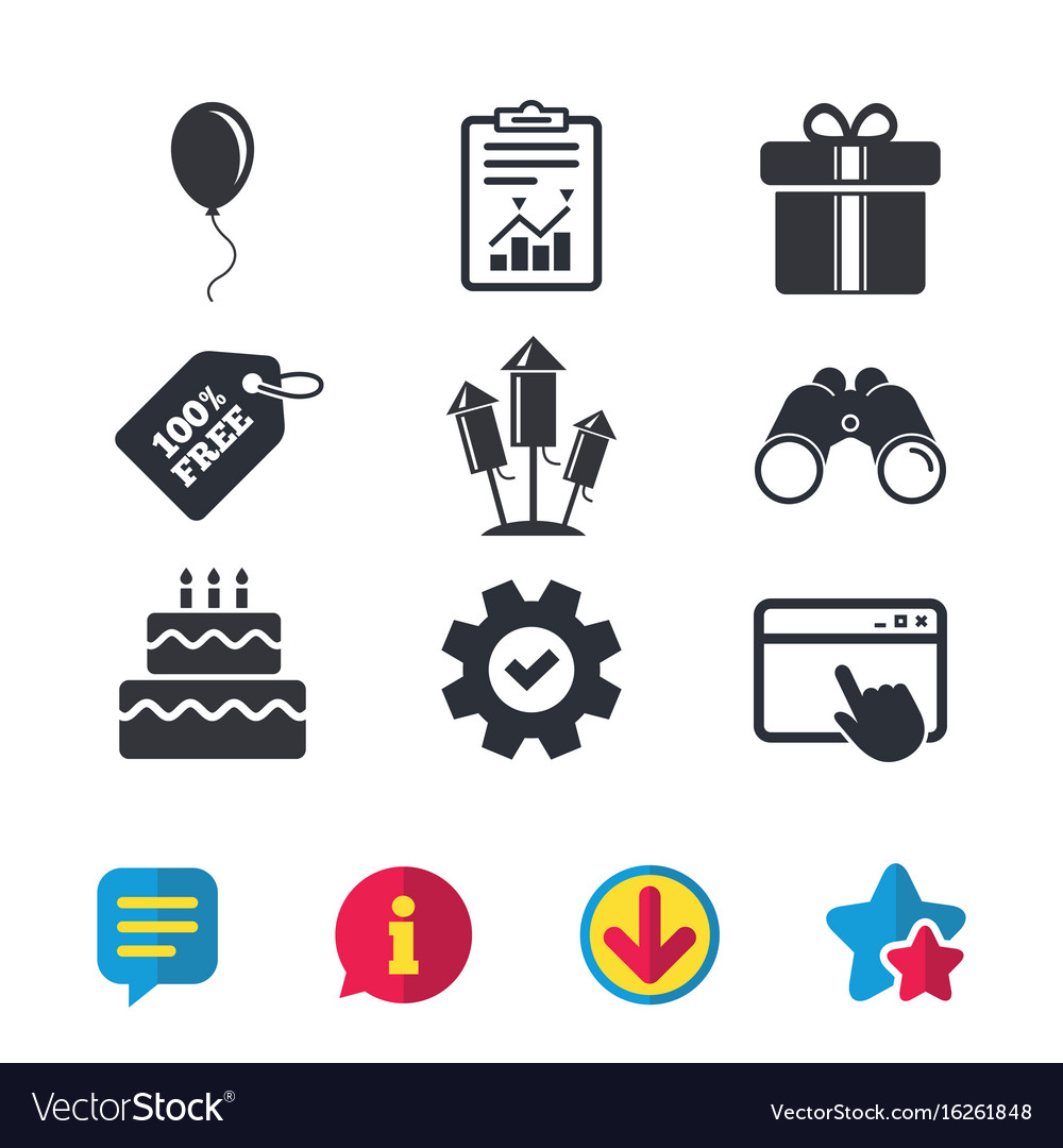 Birthday party icons cake and gift box symbol