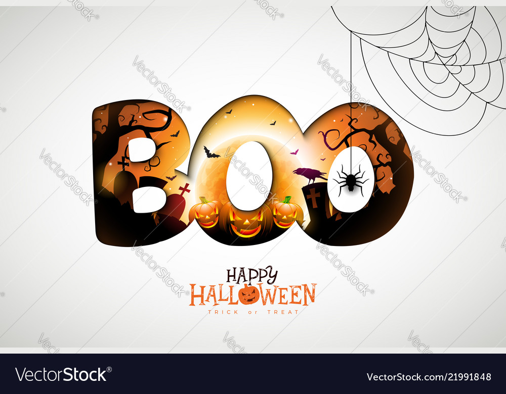 Boo happy halloween design with pumpkin moon and