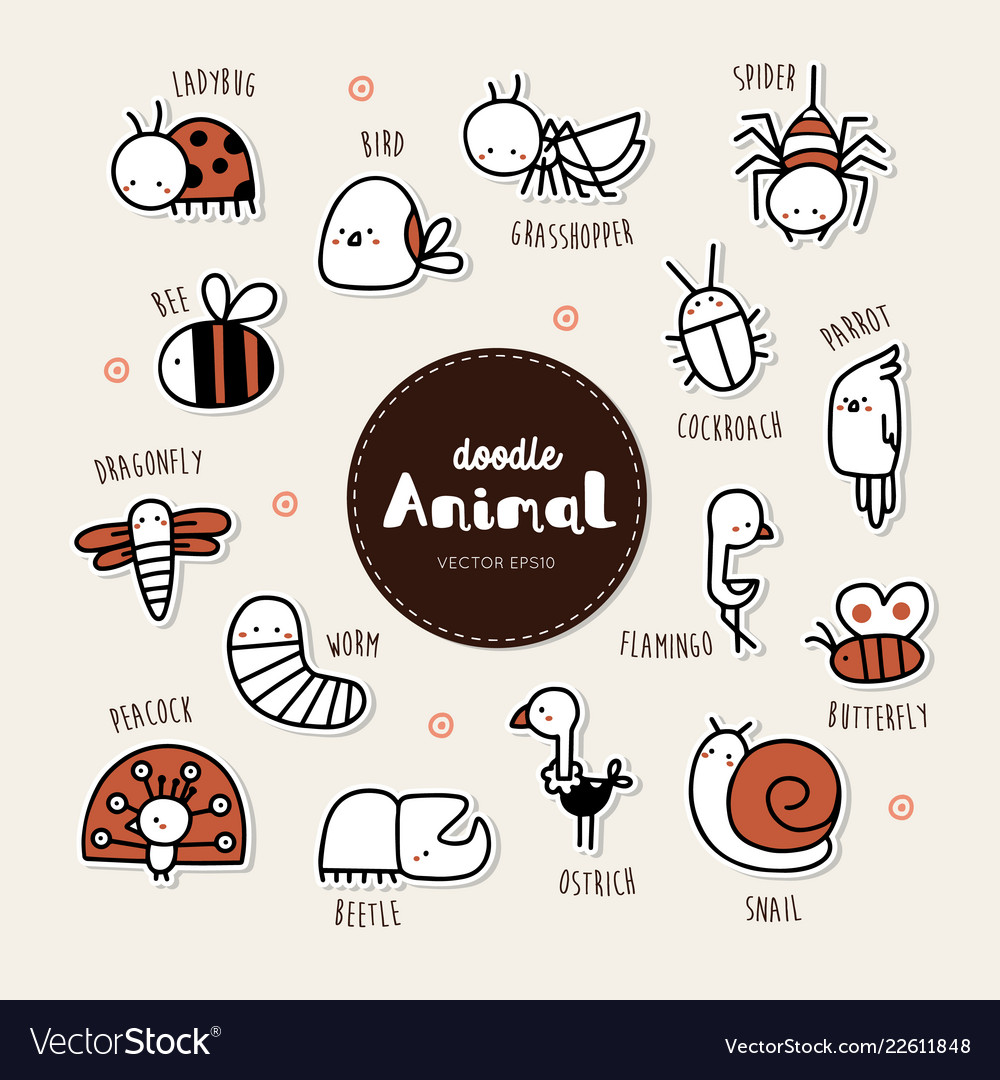 Collection hand draw animal icon doodle style