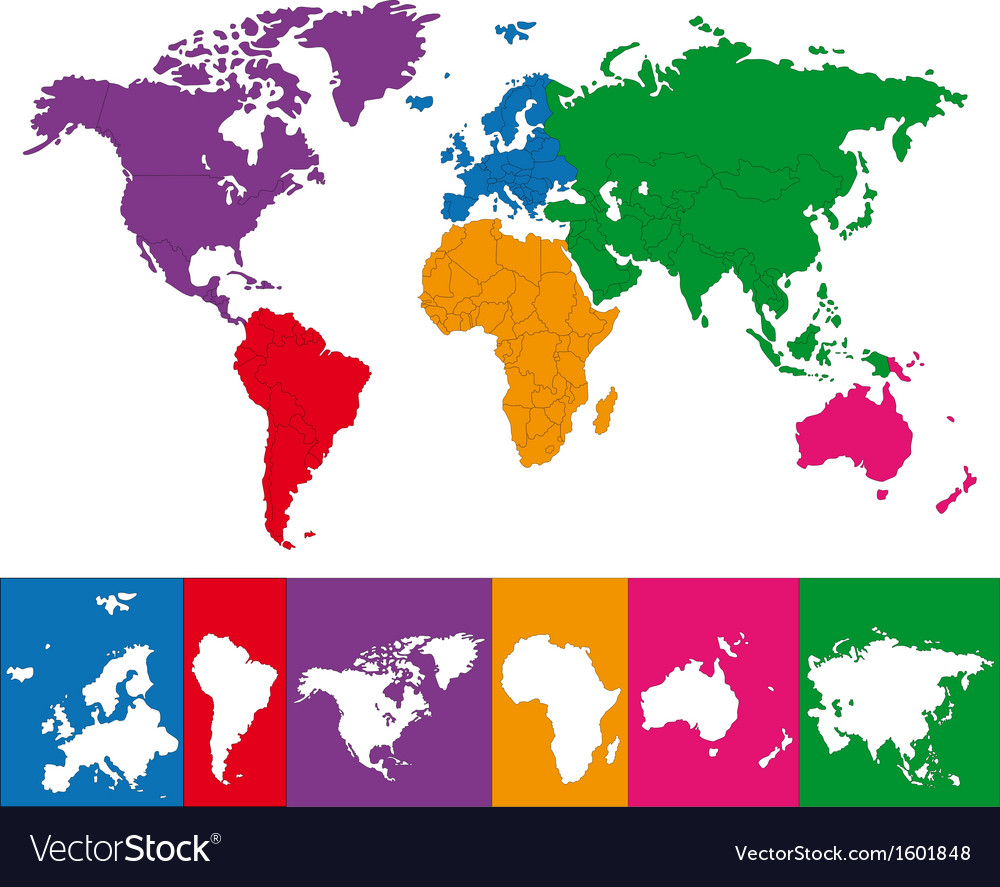 Colorful world map Royalty Free Vector Image   VectorStock