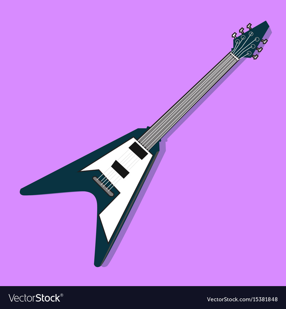 Flat electric guitar design with purple
