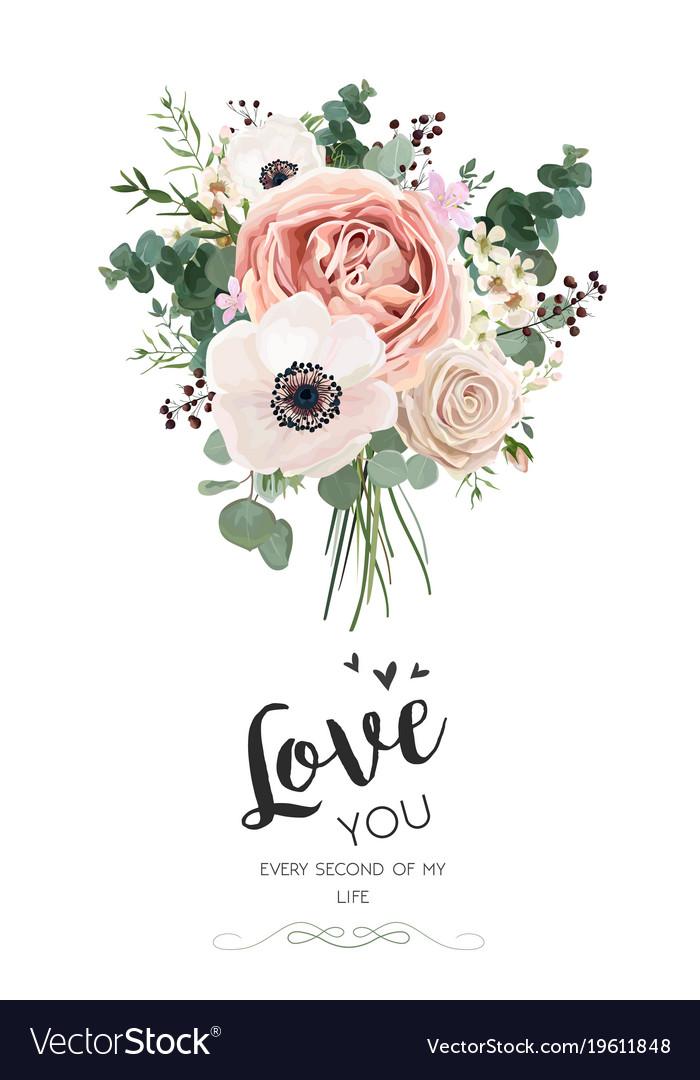 Floral card design rose peach pink flowers