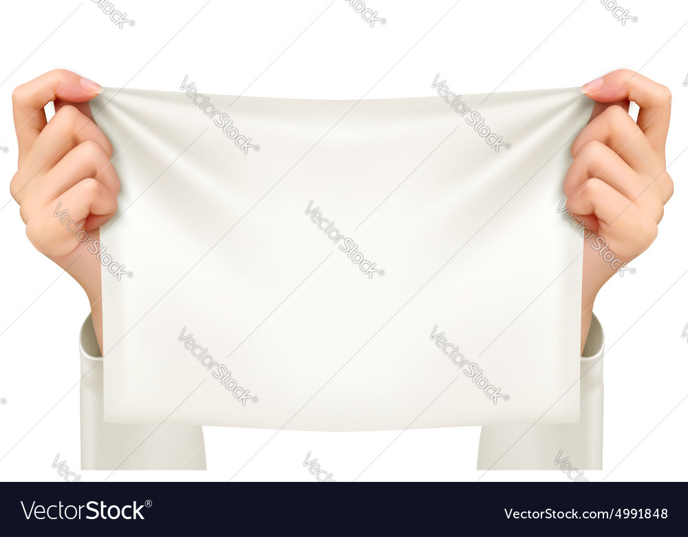 Hands holding a piece of cloth - banner