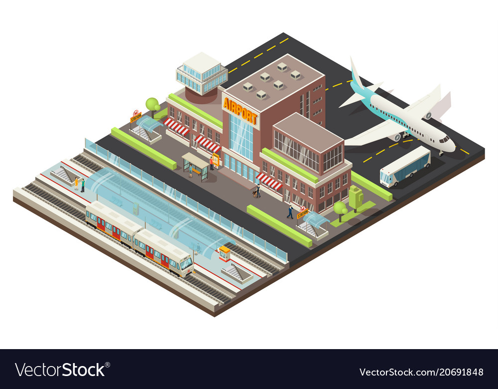Isometric airport and metro station concept