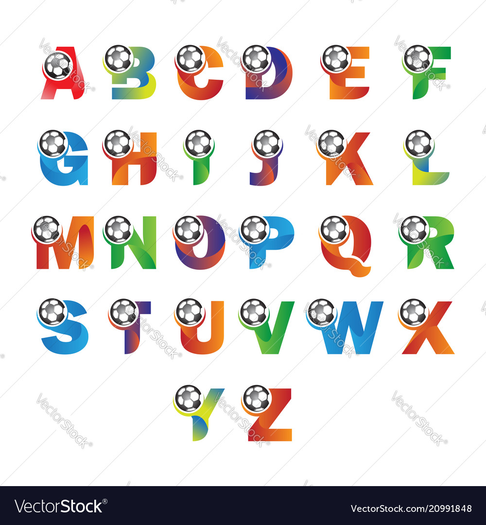 Letter alphabet with ball