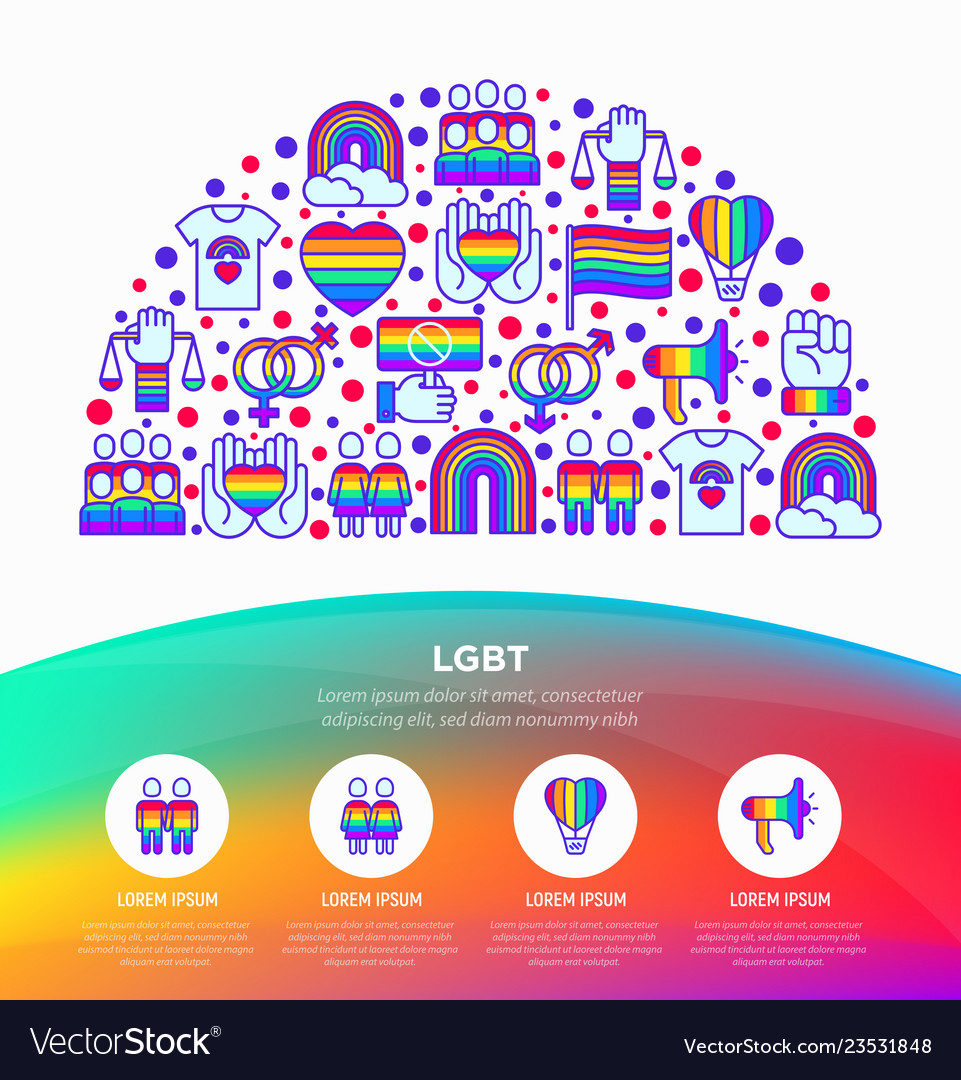 Lgbt concept in half circle with thin line icons