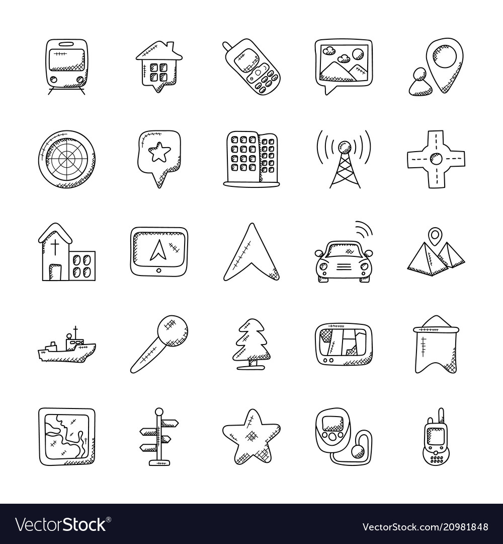 Maps and navigation doodle icon set Royalty Free Vector Doodle Maps on