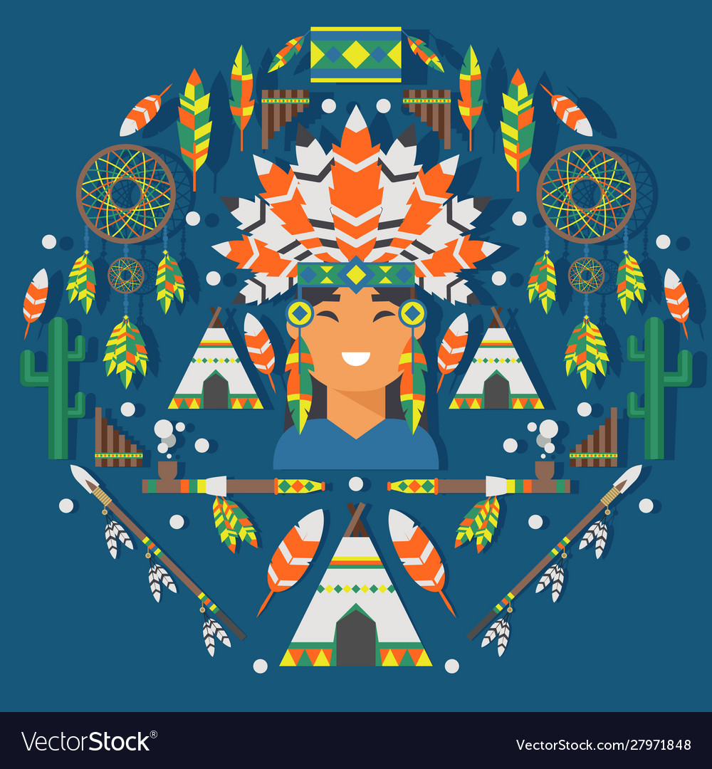Native american flat style icons