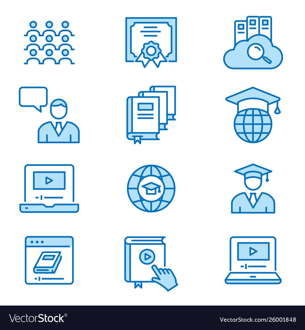 Online education flat line icons editable strokes