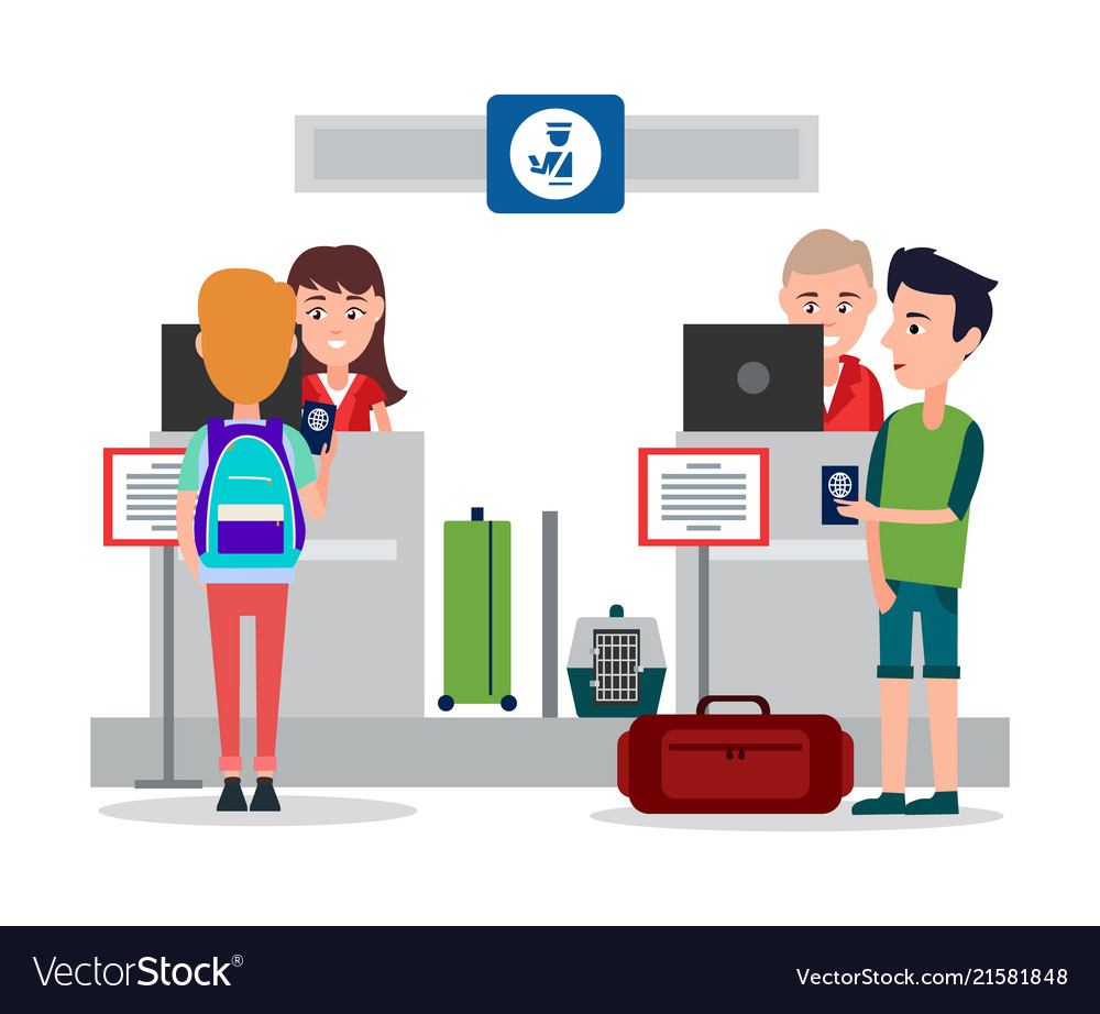 Passport control in airport