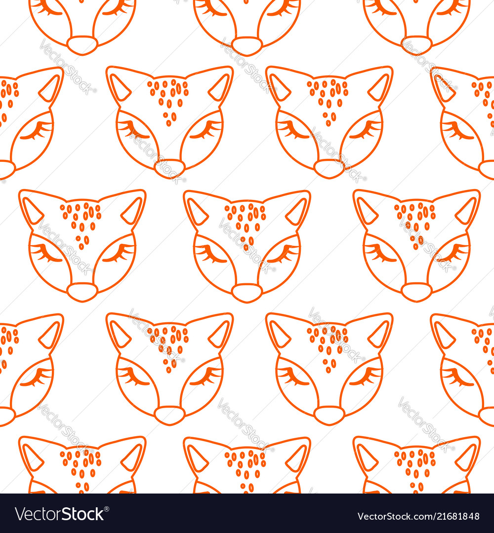 Seamless line style pattern with cute fox heads