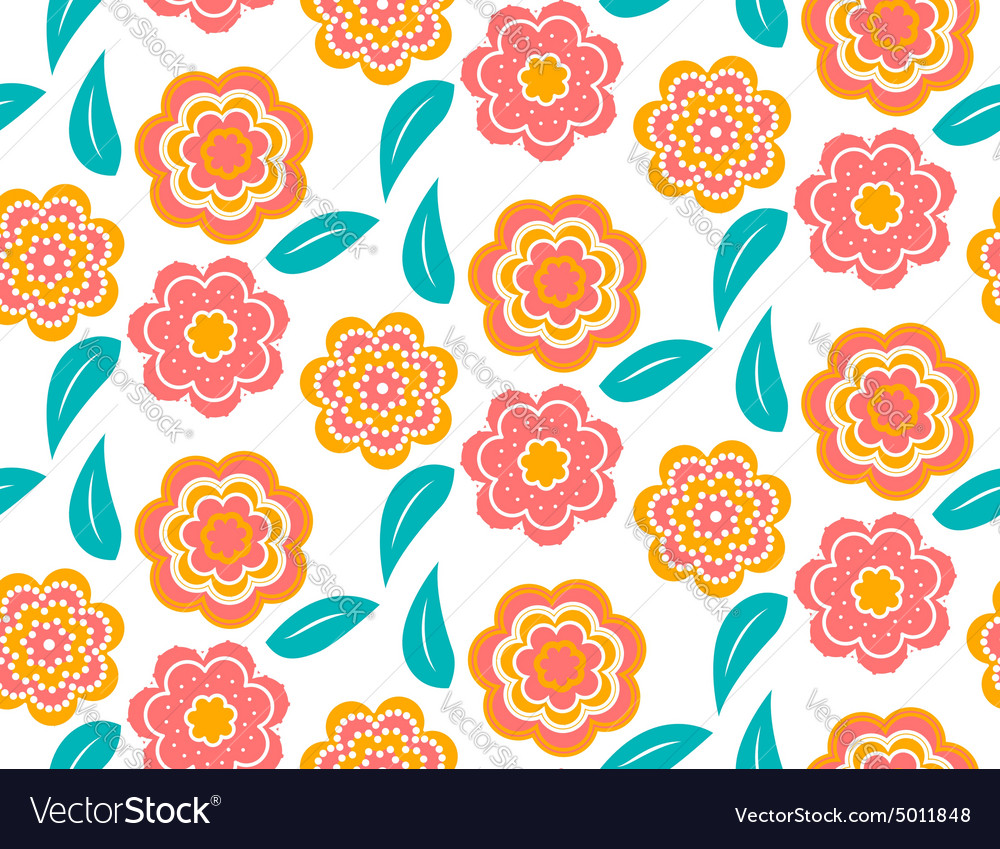 Seamless spring flower pattern on white background