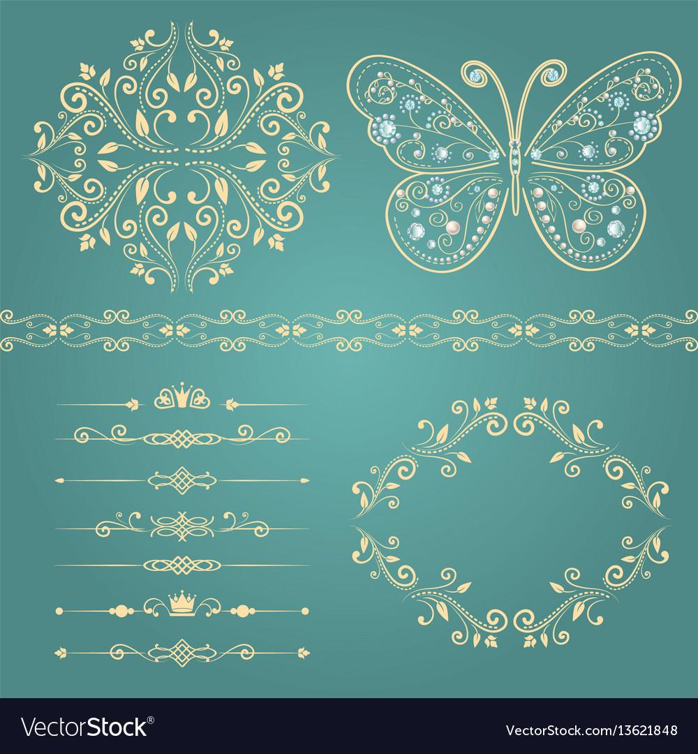 Set floral border frame dividers