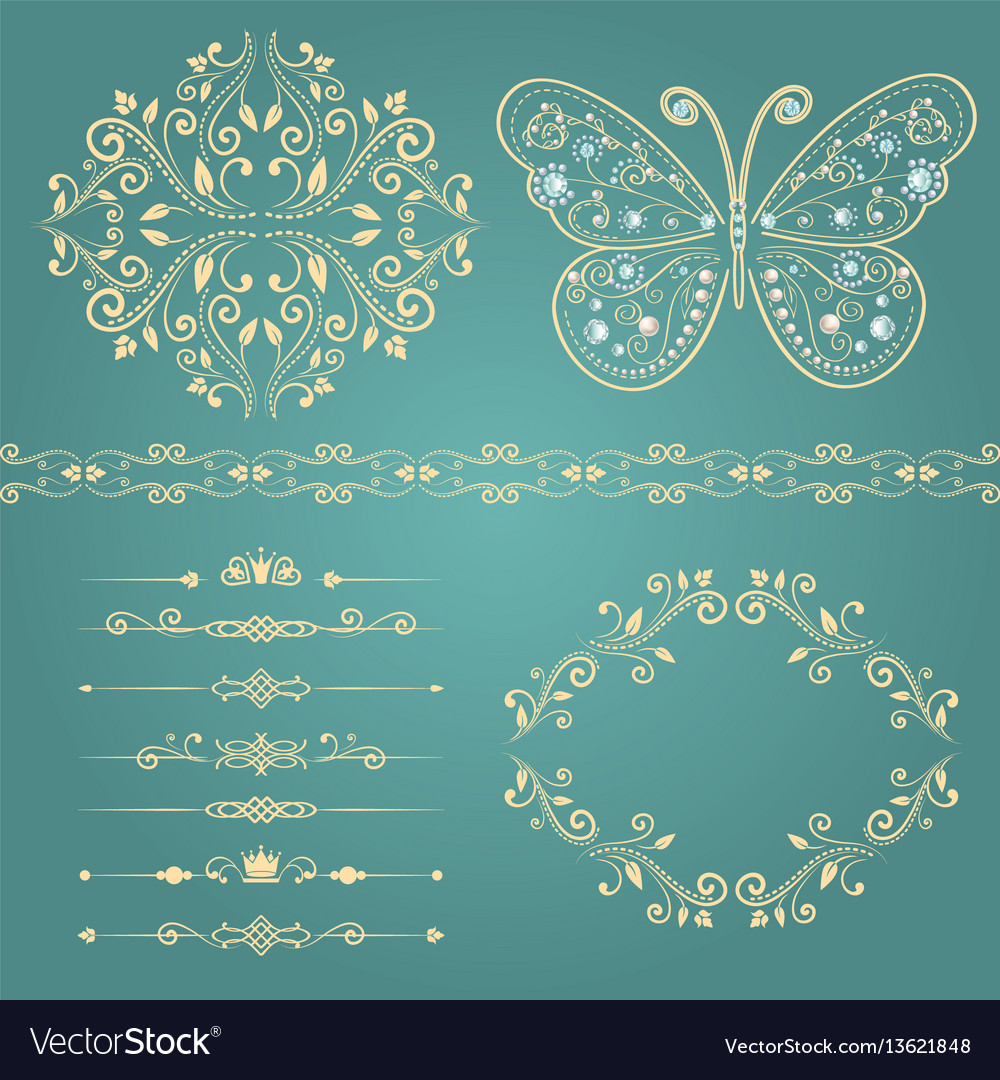Set of floral border frame dividers