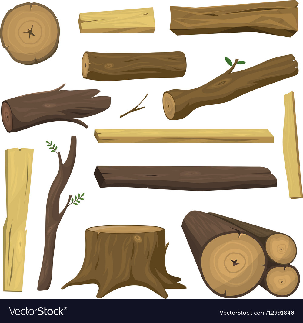 Wooden materials tree logs isolated