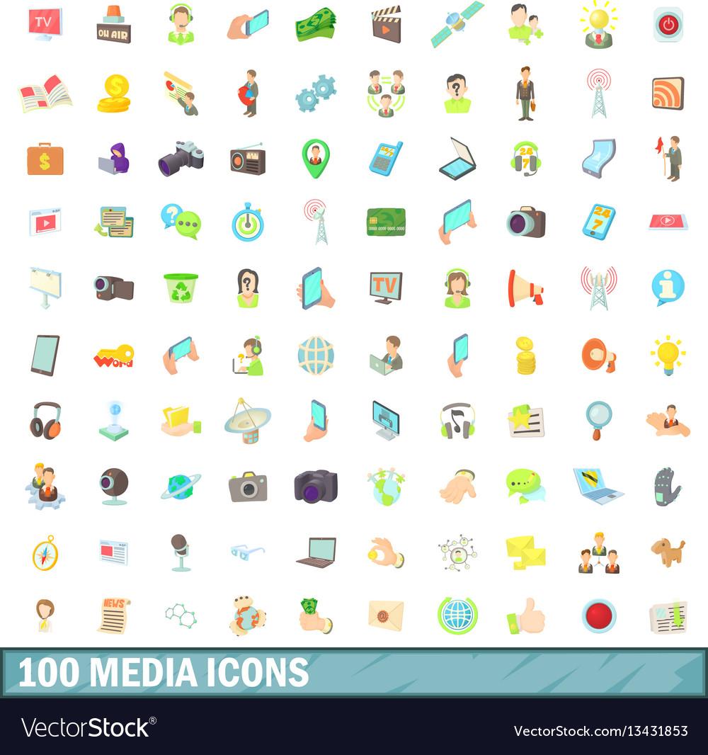100 media icons set cartoon style
