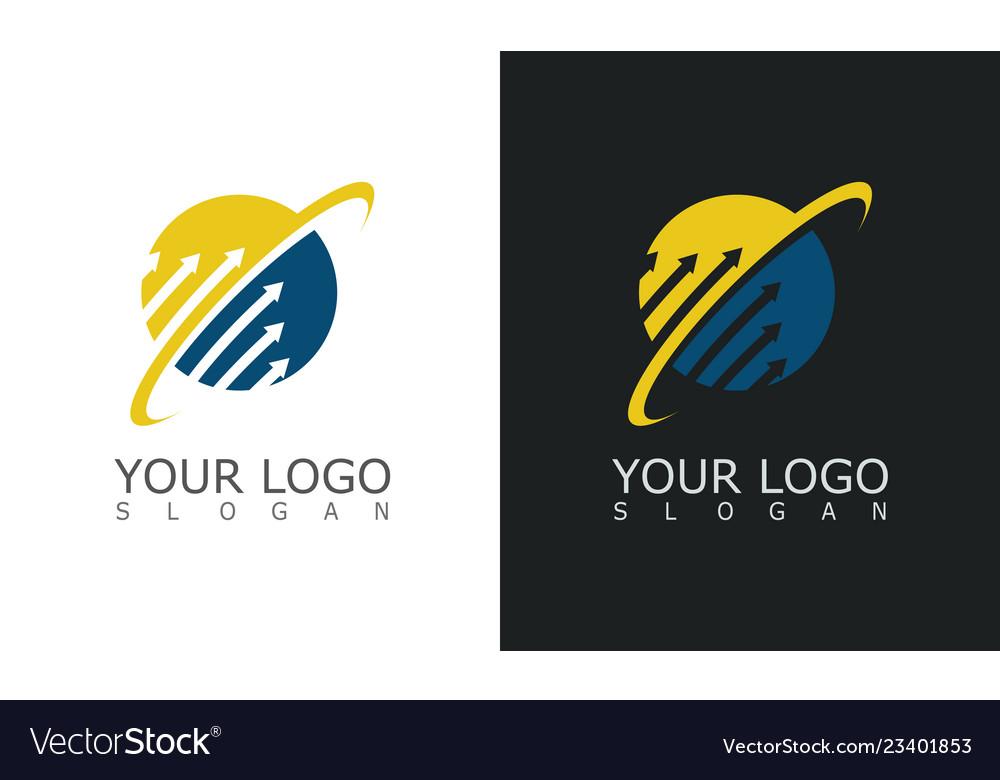 Arrow globe up technology logo