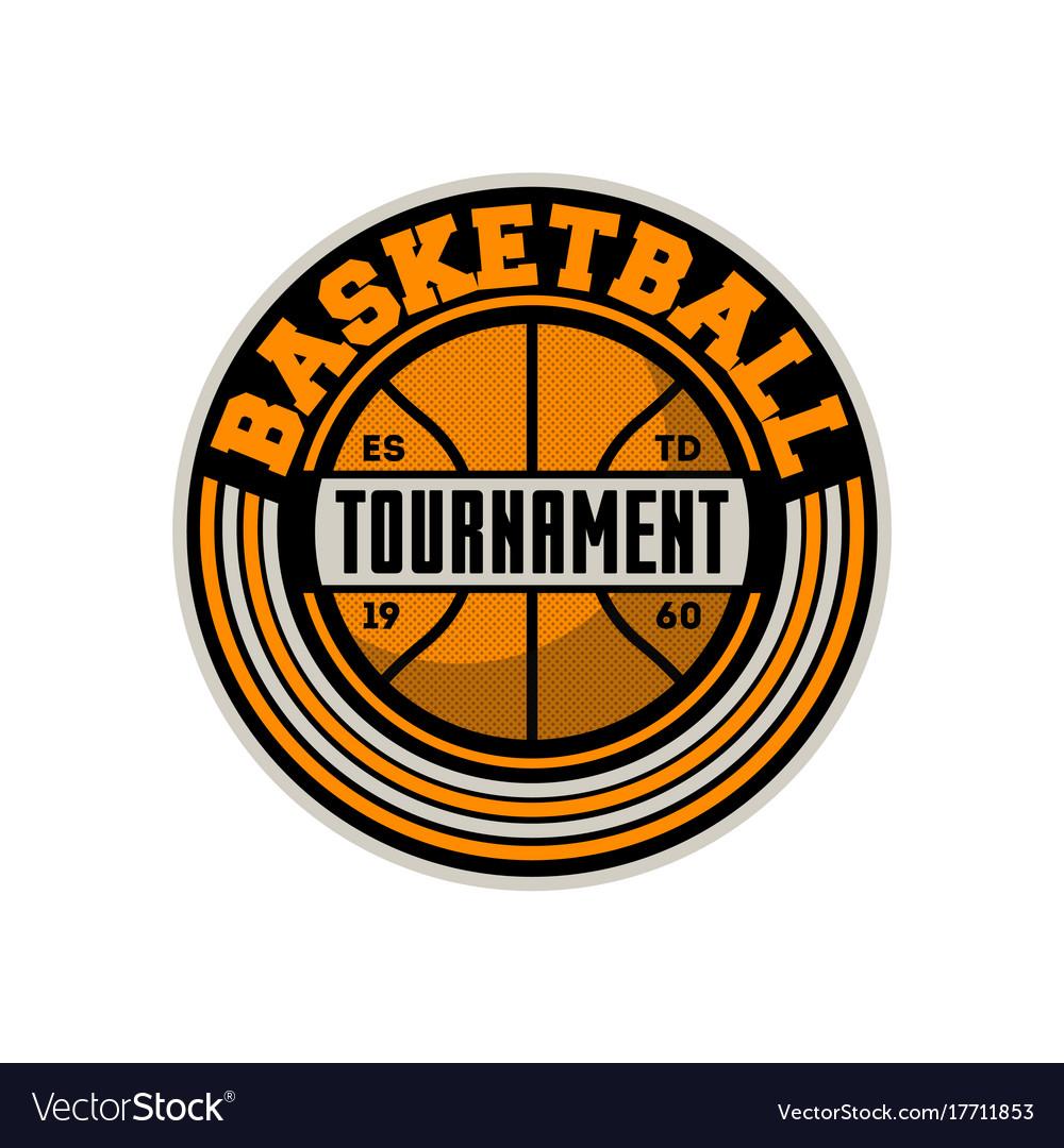Basketball professional tournament vintage label vector image
