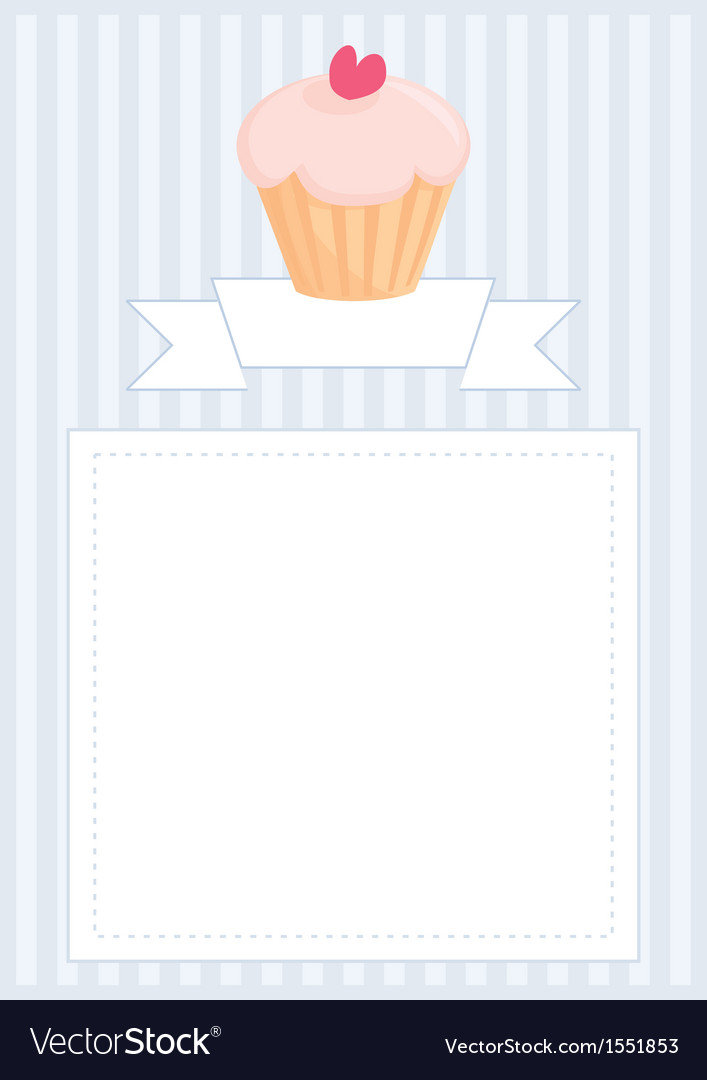 Blue invitation empty card with muffin and heart vector image