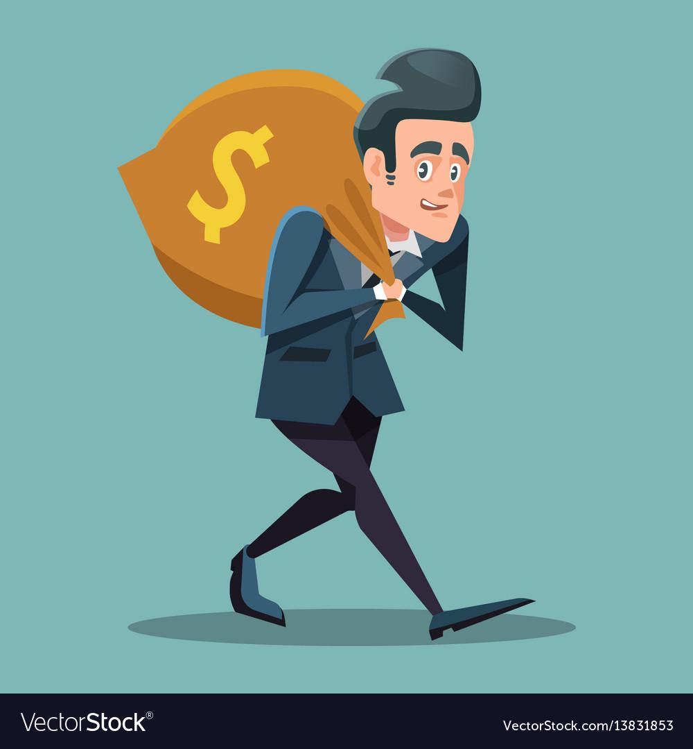 Businessman cartoon with money bag