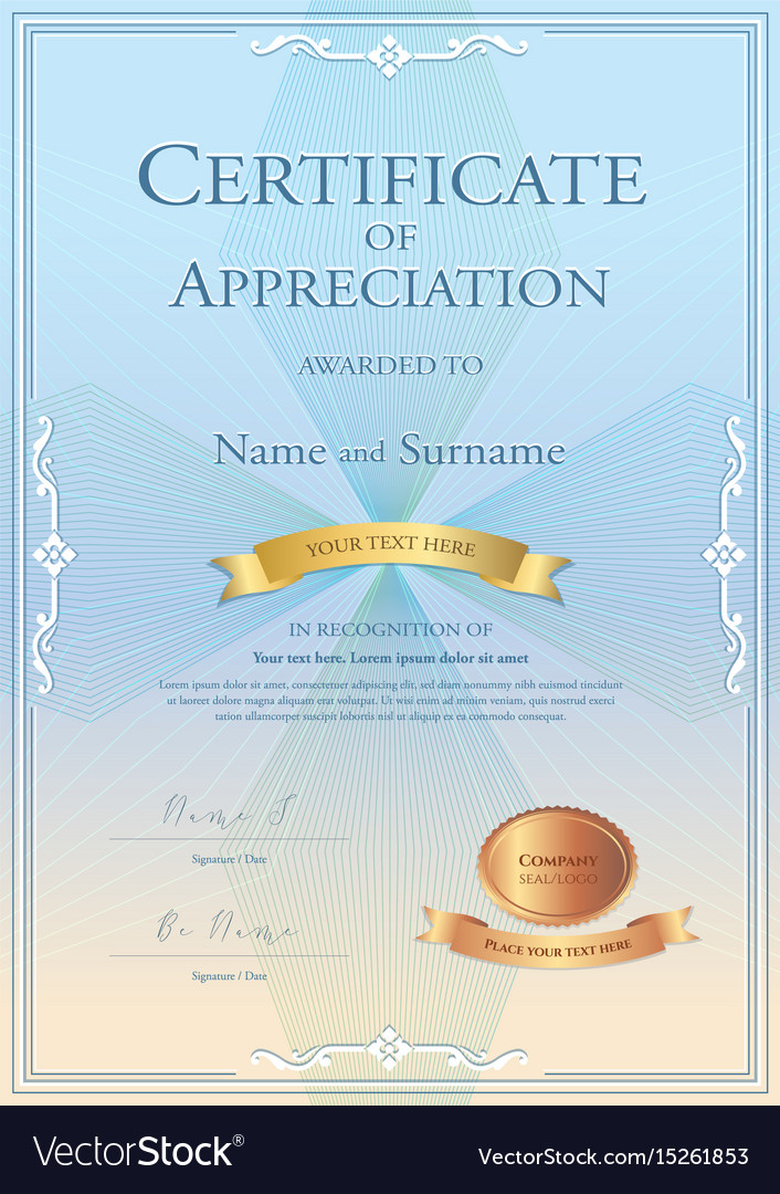 Certificate Of Appreciation Template With Gold