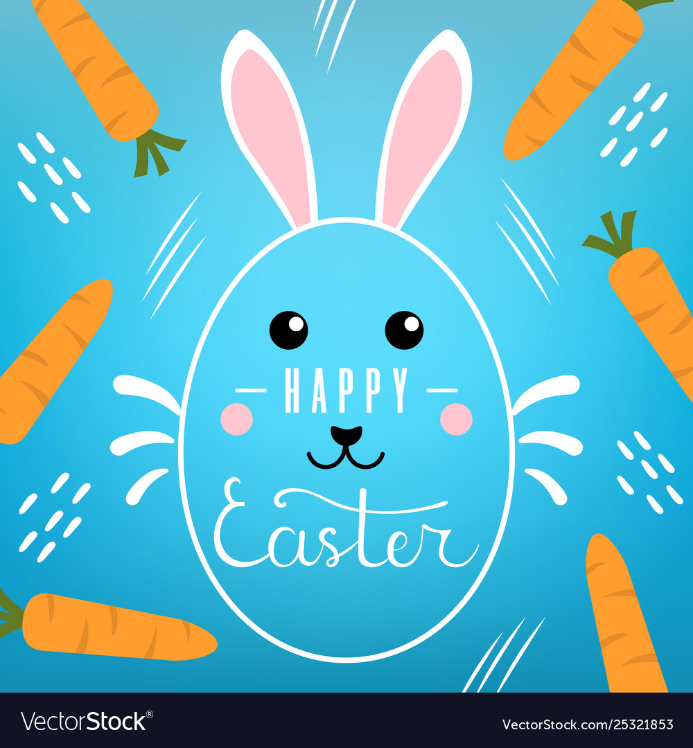 Easter card with lettering inscription on blue