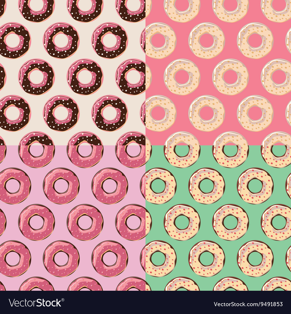 Four seamless patterns with colorful tasty donuts