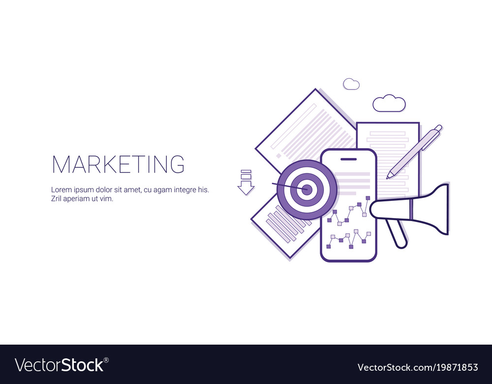 Marketing business concept template web banner vector image