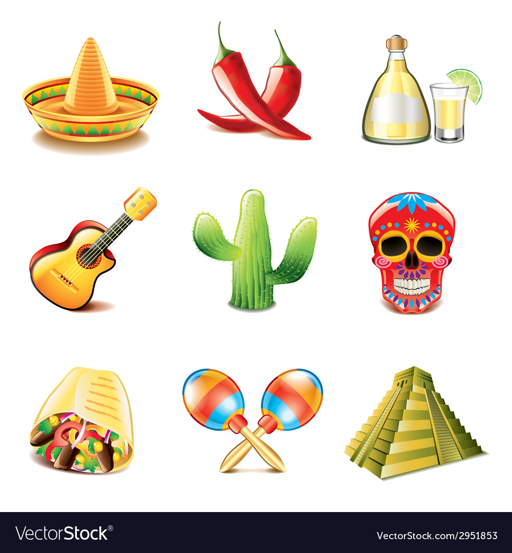 Mexican culture icons vector image