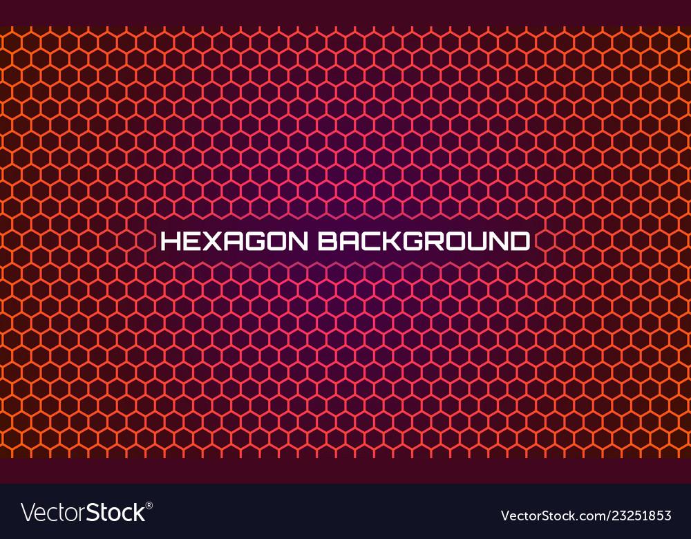 Orange hexagon background bright abstract
