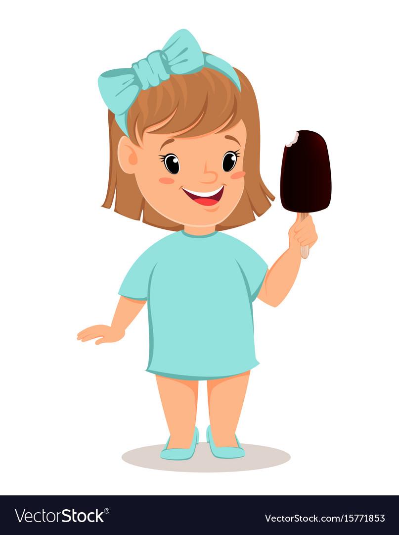 Pretty little girl in blue dress eating ice cream